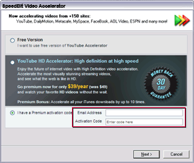 SPEEDbit Video Accelerator activation screen - entering your activation code