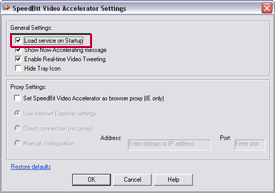 SPEEDbit Video Accelerator Settings screen - Load service on Startup