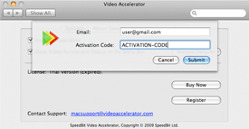 Screenshot of activation screen of SPEEDbit Video Accelerator for Mac - Email and Activation Code screen