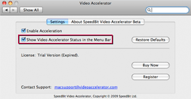 Screenshot of 'Show Video Accelerator Status in the Menubar' option in Settings screen