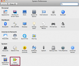 Screenshot of Video Accelerator in Mac's System Preferences application