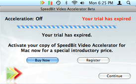 Screenshot of activation screen of SPEEDbit Video Accelerator for Mac
