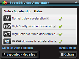 Screenshot of Video Accelerator main screen - Supported video sites button