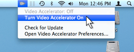 Screenshot of 'Turn Video Accelerator Off/Turn Video On' options in Video Accelerator's Menu in the Menubar